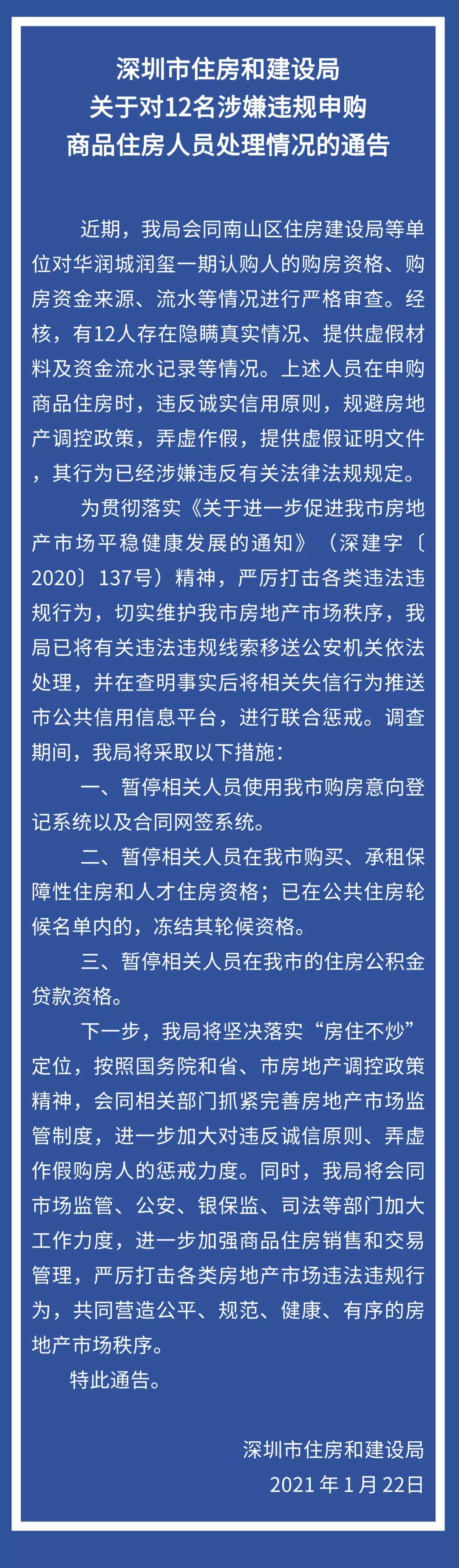 深圳市住房和建设局对12名涉嫌违规申购商品住房人员处理通告