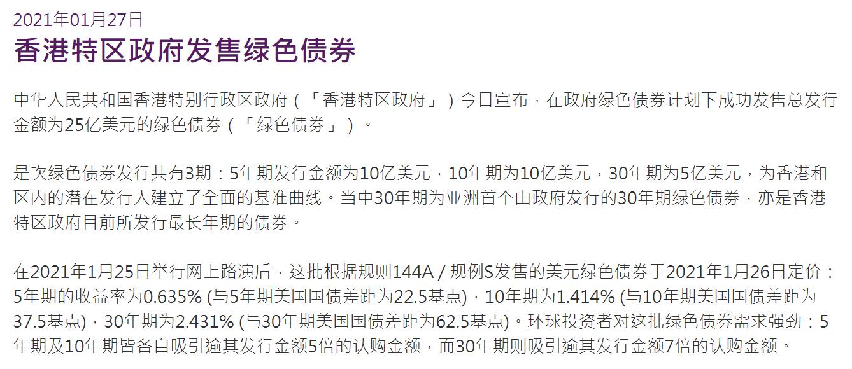 香港成功发售25亿美元绿色债券,现最长年期债券