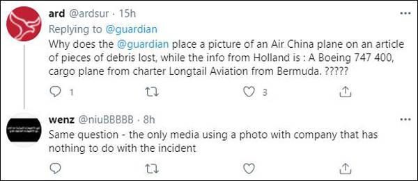 英国《卫报》报道百慕大长尾航空波音货机零件掉落,却配个国货航的图