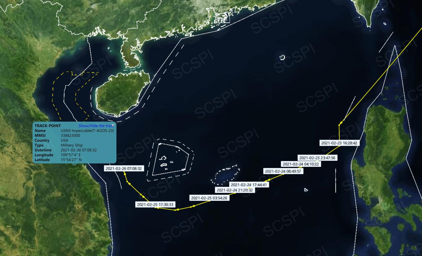 美军无辜的测量船暴露在西沙群岛附近,航迹非常不正常