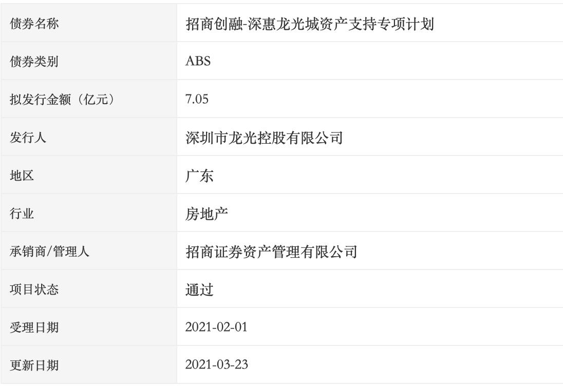 龙光:7.05亿元深惠龙光城ABS获深交所通过