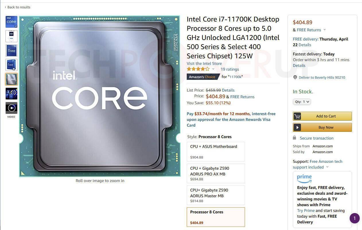 外媒:英特尔 11 代桌面酷睿已开始降价,发布仅一个月