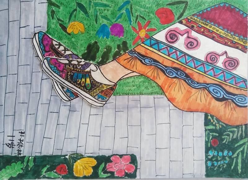 成都美术名师送教大凉山 来看看彝族娃娃的书画作品有多棒