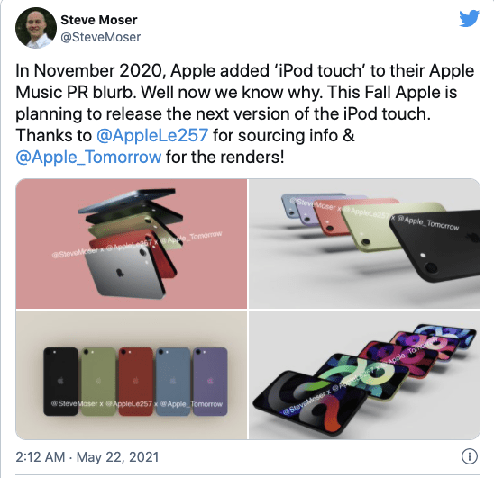 苹果新 iPod Touch 渲染图流出:可以用较低价格享受更多IOS应用和服务