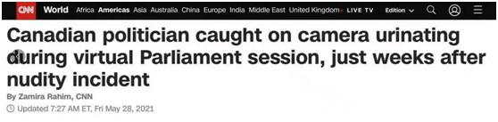 """""""全裸""""出鏡視頻會議后,加拿大議員又被拍到在鏡頭前小便……"""