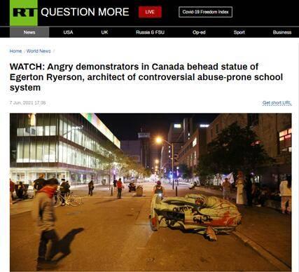 """愤怒在延烧!加拿大原住民儿童寄宿学校创建者雕像被抗议者""""斩首"""""""