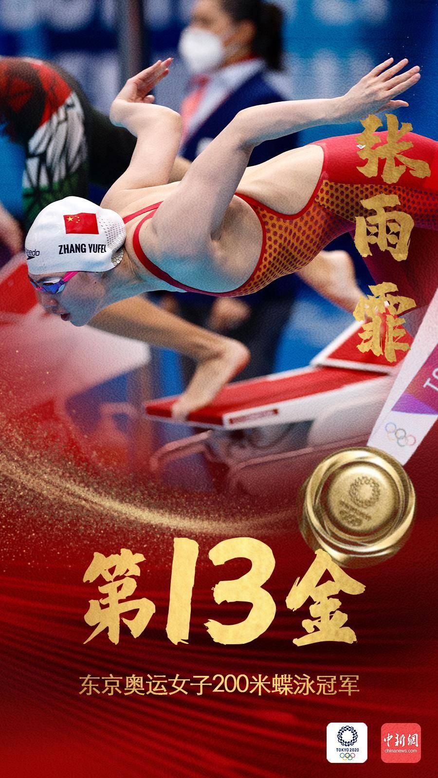 中国军团第13金!东京奥运女子200米蝶泳张雨霏夺冠
