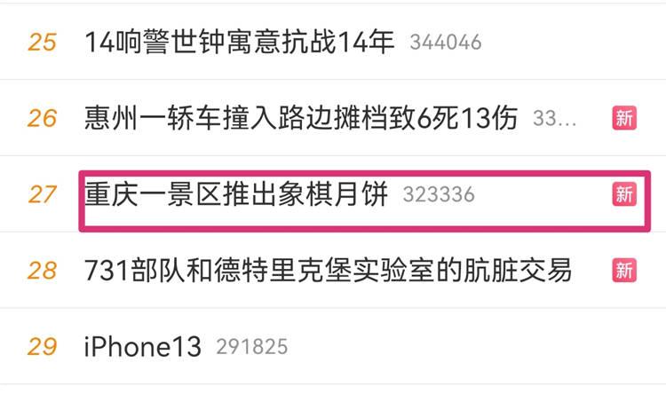 #重庆一景区推出象棋月饼#上热搜 网友:我想悔棋怎么办?