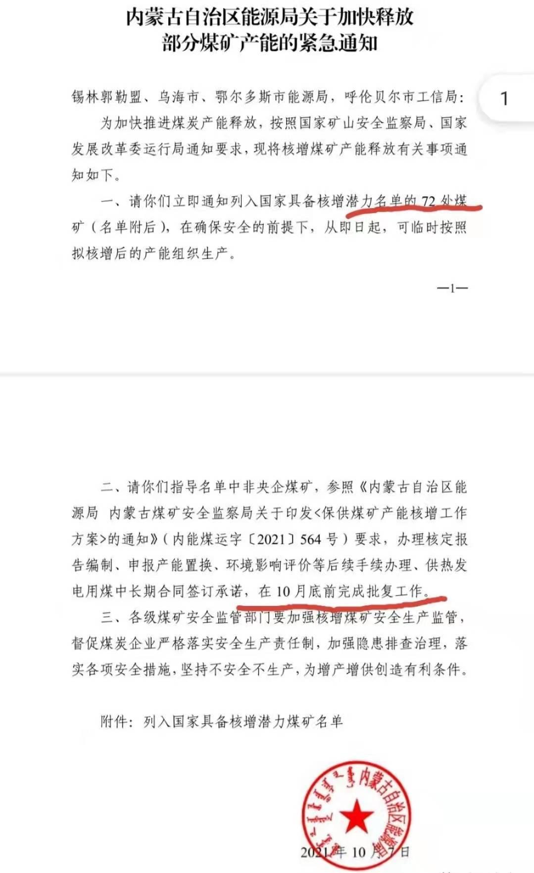 """媒体关注网传""""内蒙古能源局紧急通知"""":加快释放72处煤矿产能"""